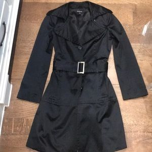 bebe satin belted trench coat